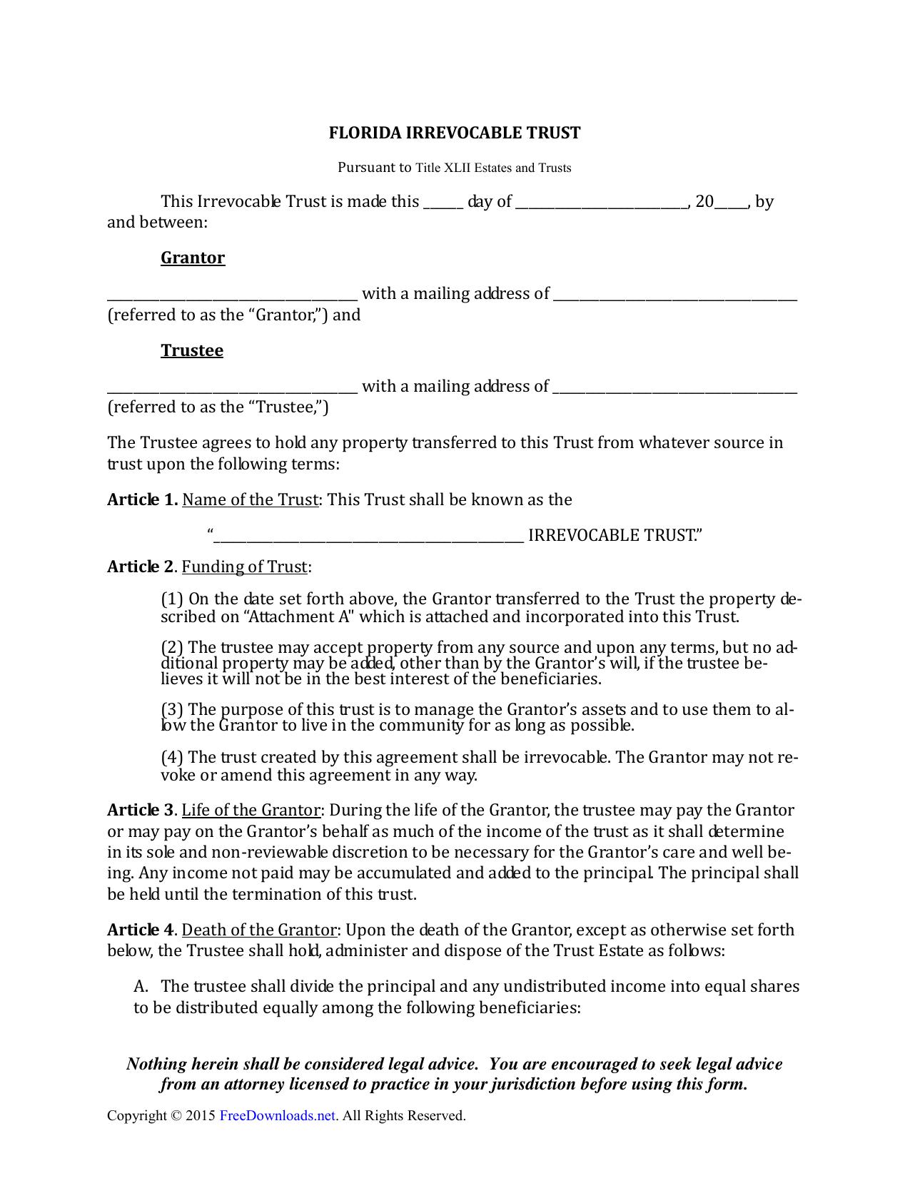 Download Florida Irrevocable Living Trust Form Pdf Rtf