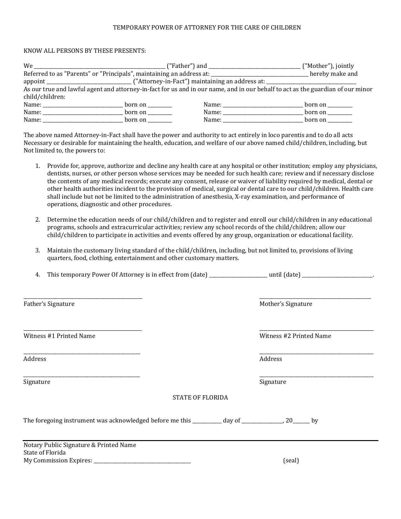 image about Free Printable Power of Attorney Forms Online titled Down load Florida Tiny Kid Ability of Legal professional Type PDF