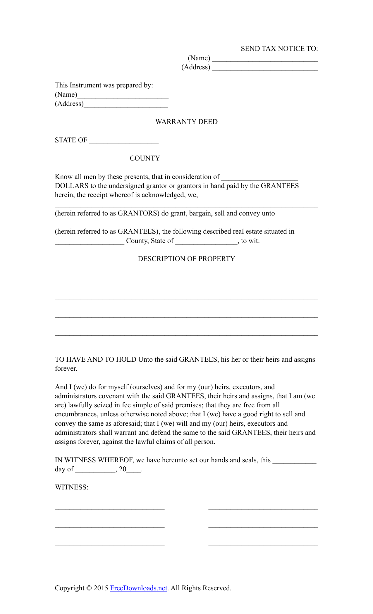 picture about Printable Warranty Deed titled Down load All round Promise Deed Style PDF RTF Phrase