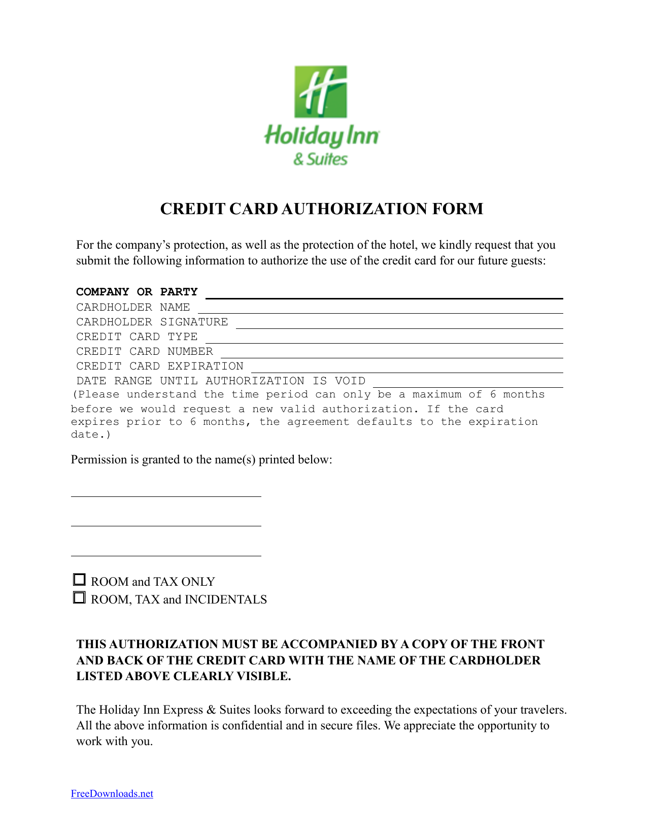 download holiday inn credit card authorization form template