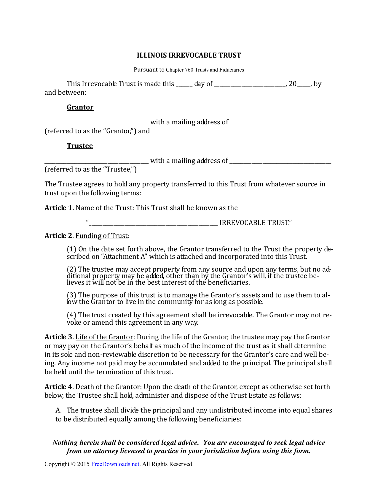 download illinois irrevocable living trust form