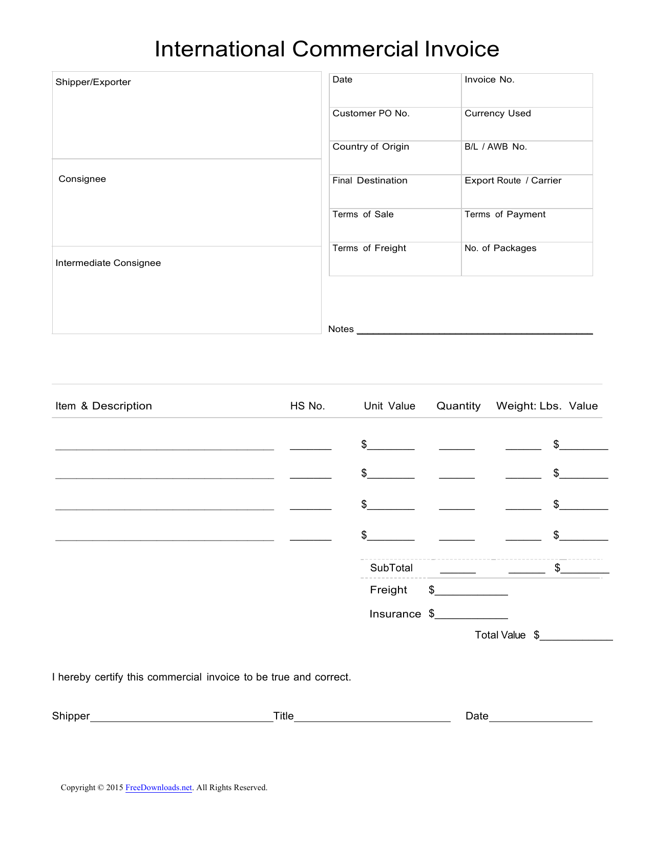 download standard blank commercial invoice template