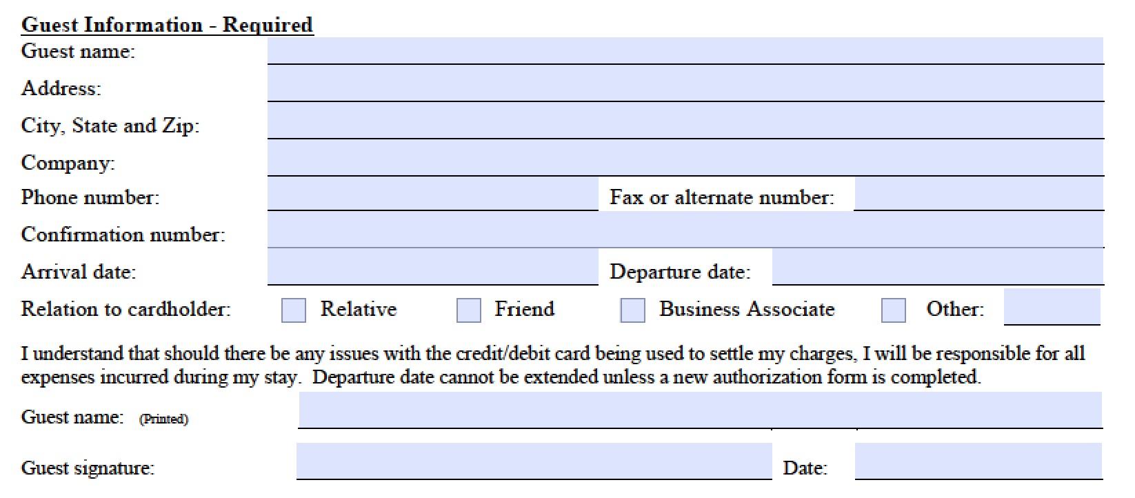 Download Marriott Credit Card Authorization Form Template