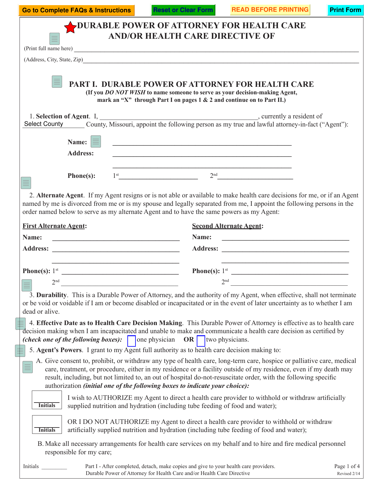 download missouri living will form  u2013 advance directive