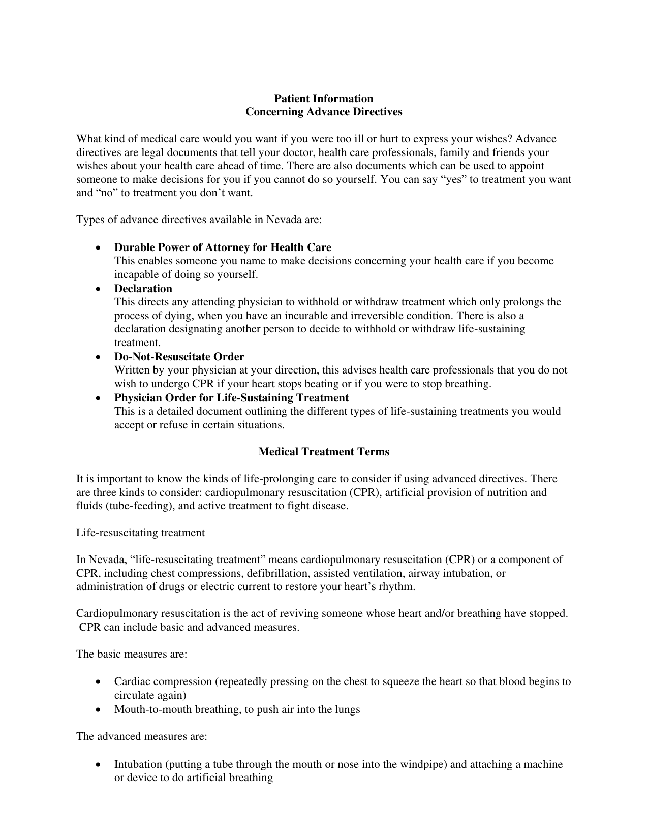 Download Nevada Living Will Form Advance Directive Pdf Freedownloads Net
