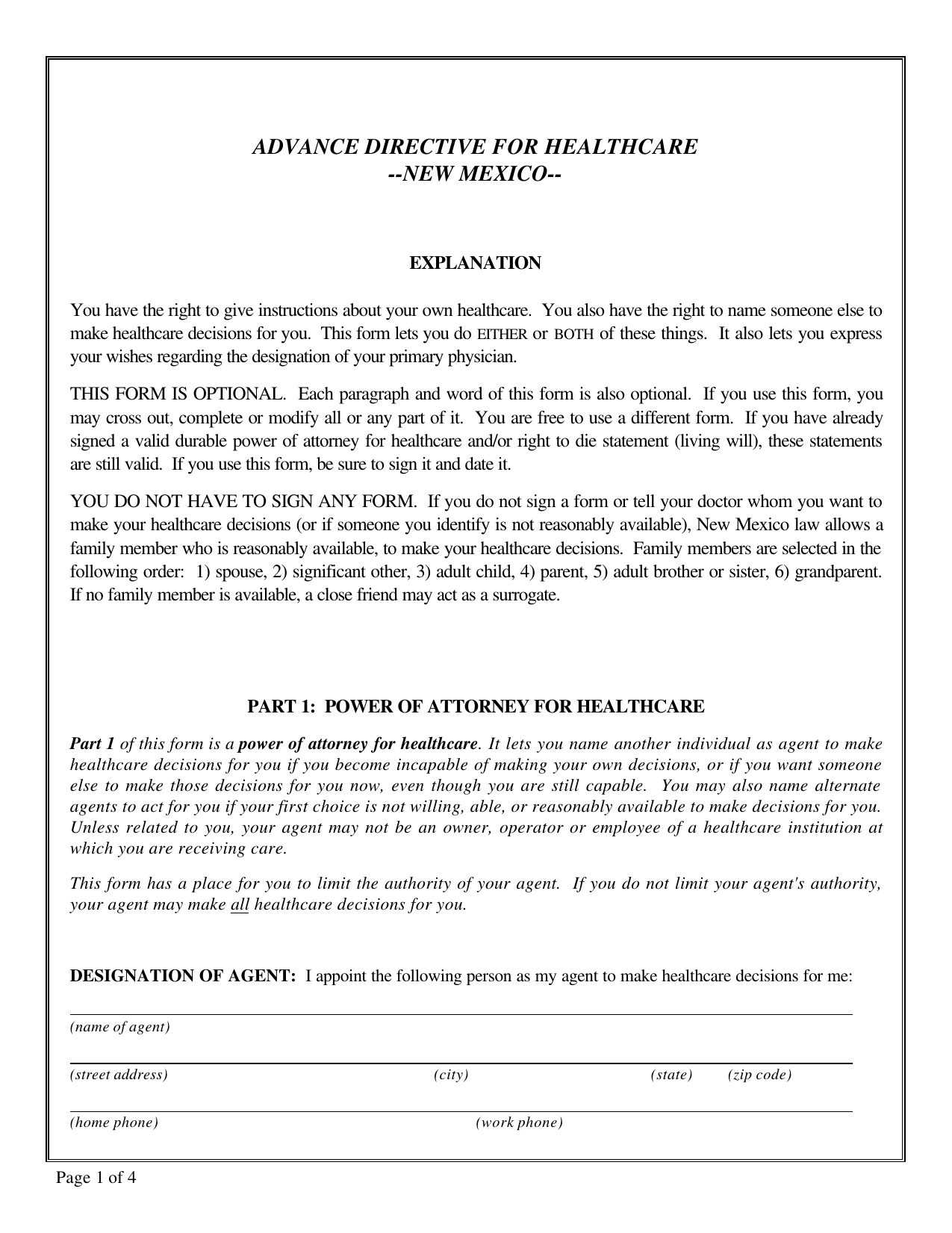 download new mexico living will form  u2013 advance directive
