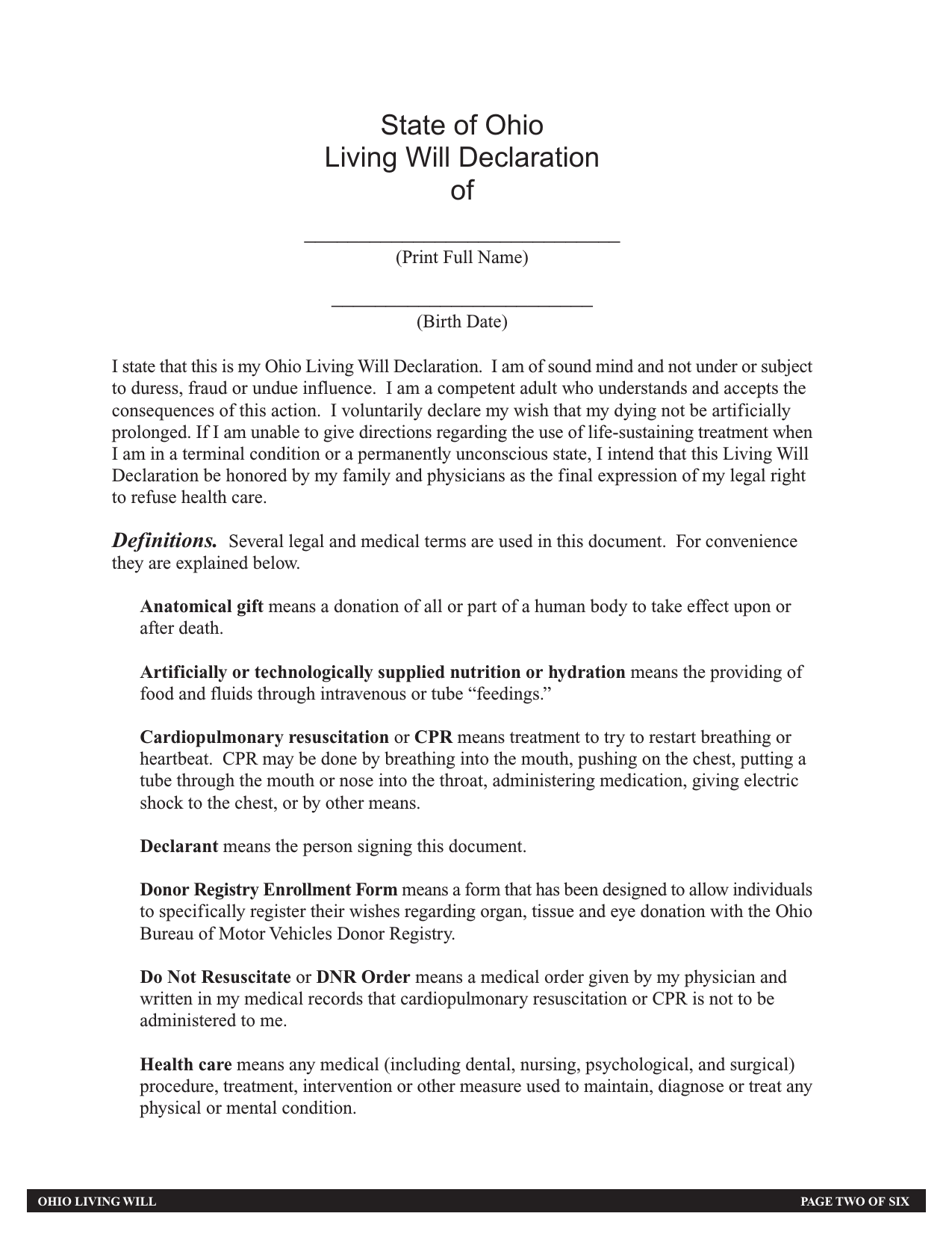 picture relating to Free Printable Last Will and Testament, Ohio called Down load Ohio Residing Will Variety Progress Directive PDF