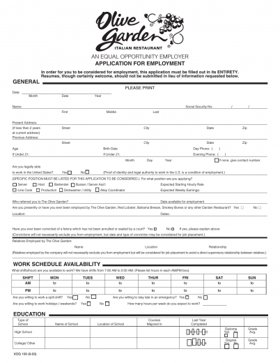 work applications forms