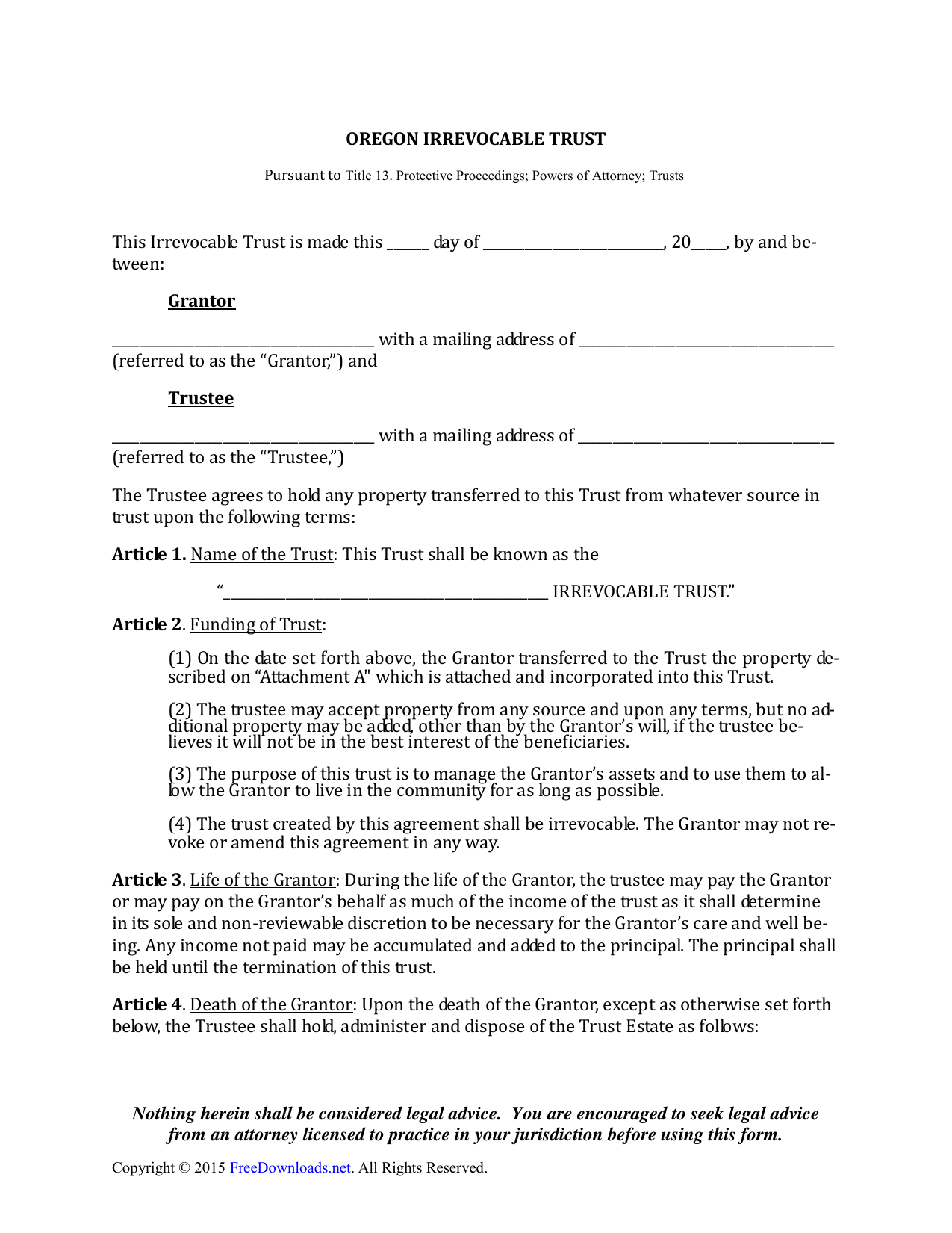 Download Oregon Irrevocable Living Trust Form | PDF | RTF