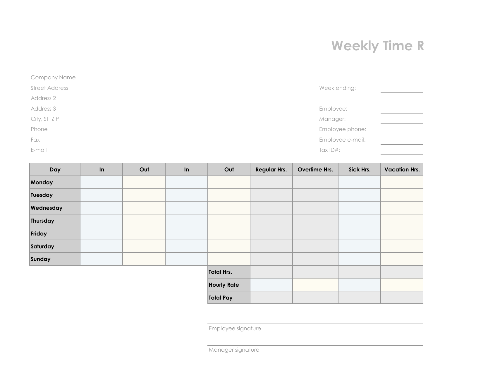 download employee timesheet template