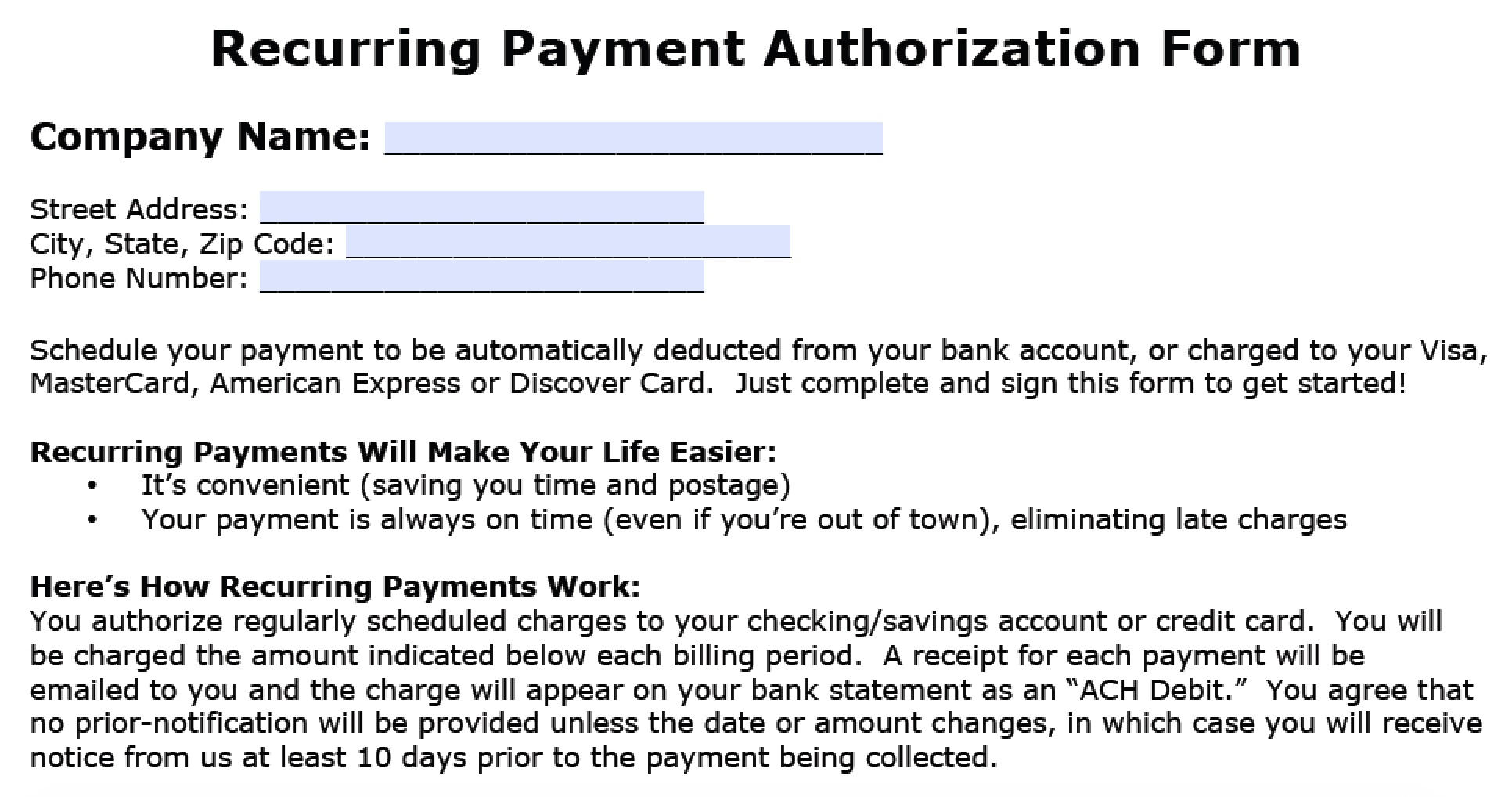 Recurring Payment Authorization Form Part 1