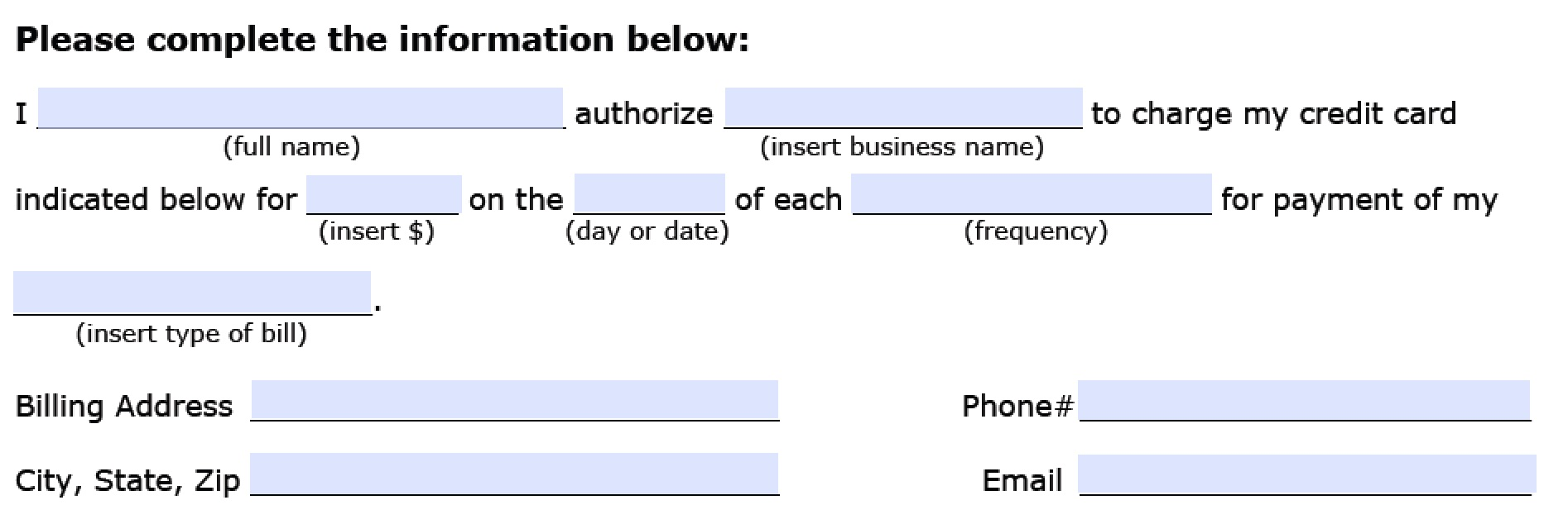 Recurring Payment Authorization Form Part 2