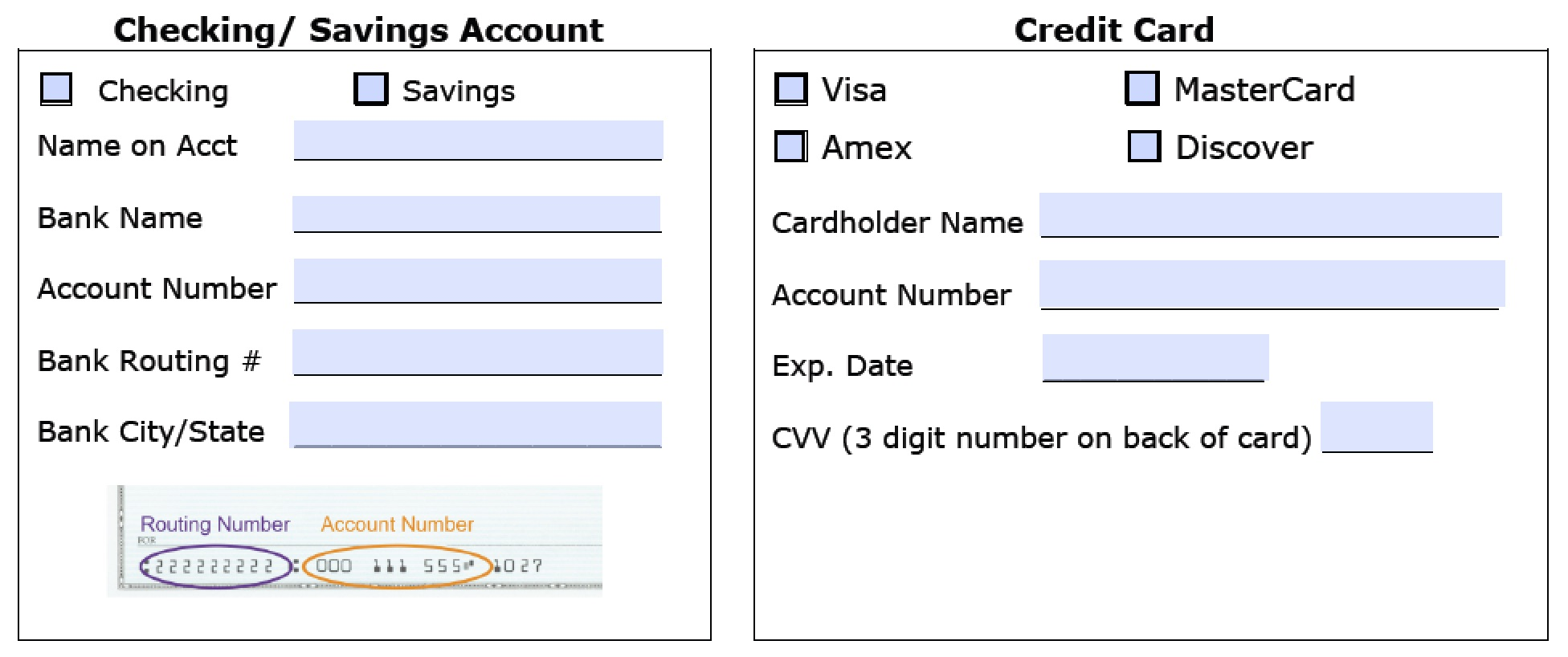 recurring credit card authorization form