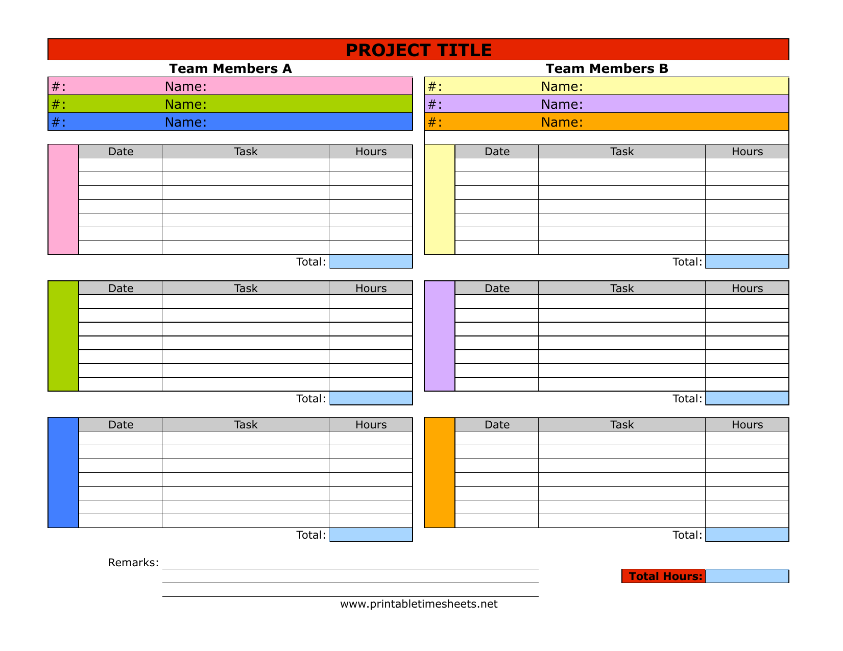 download project timesheet template