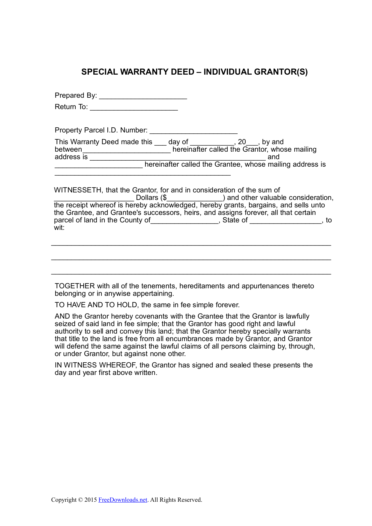 Special Warranty Deed Form