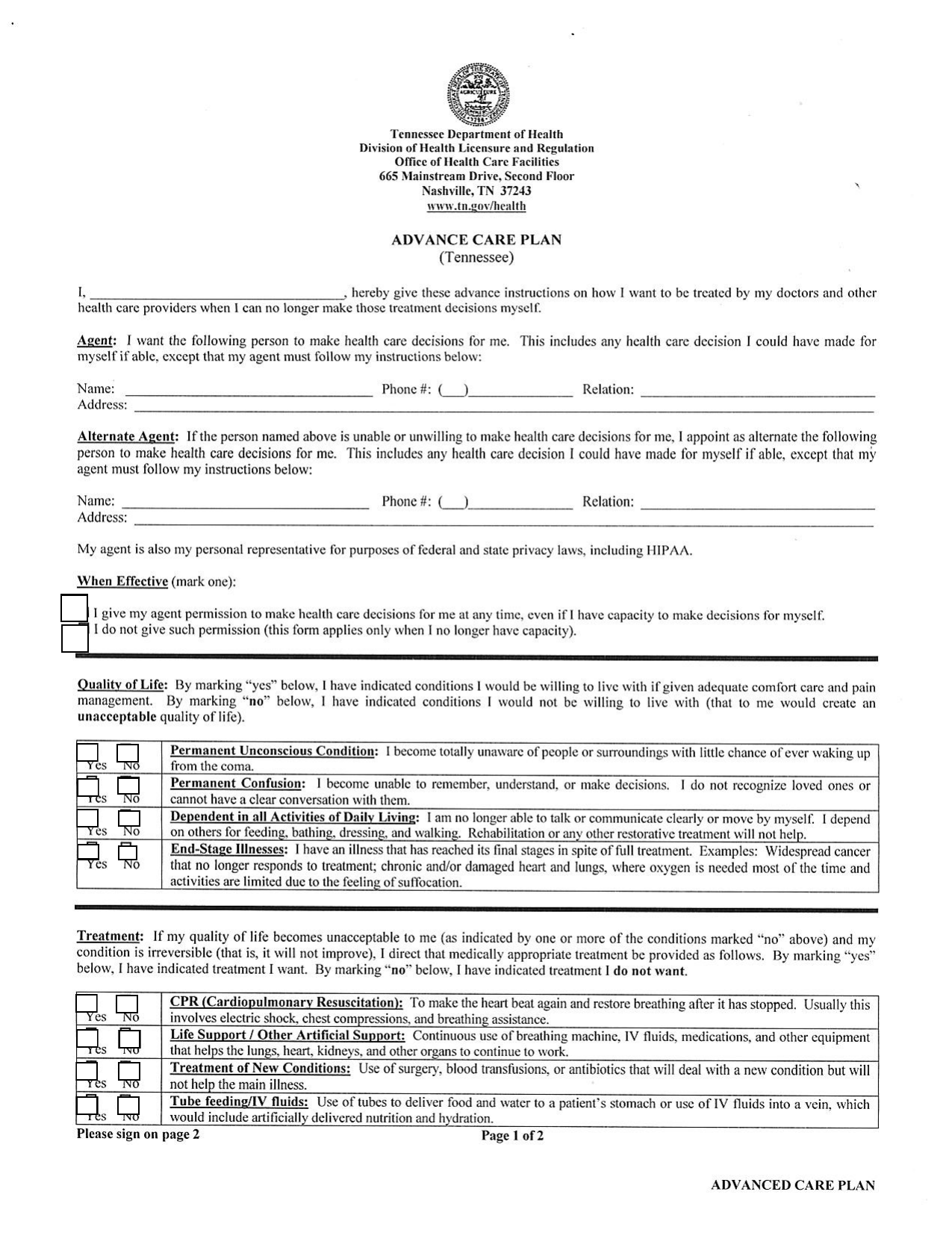 download tennessee living will form  u2013 advance directive