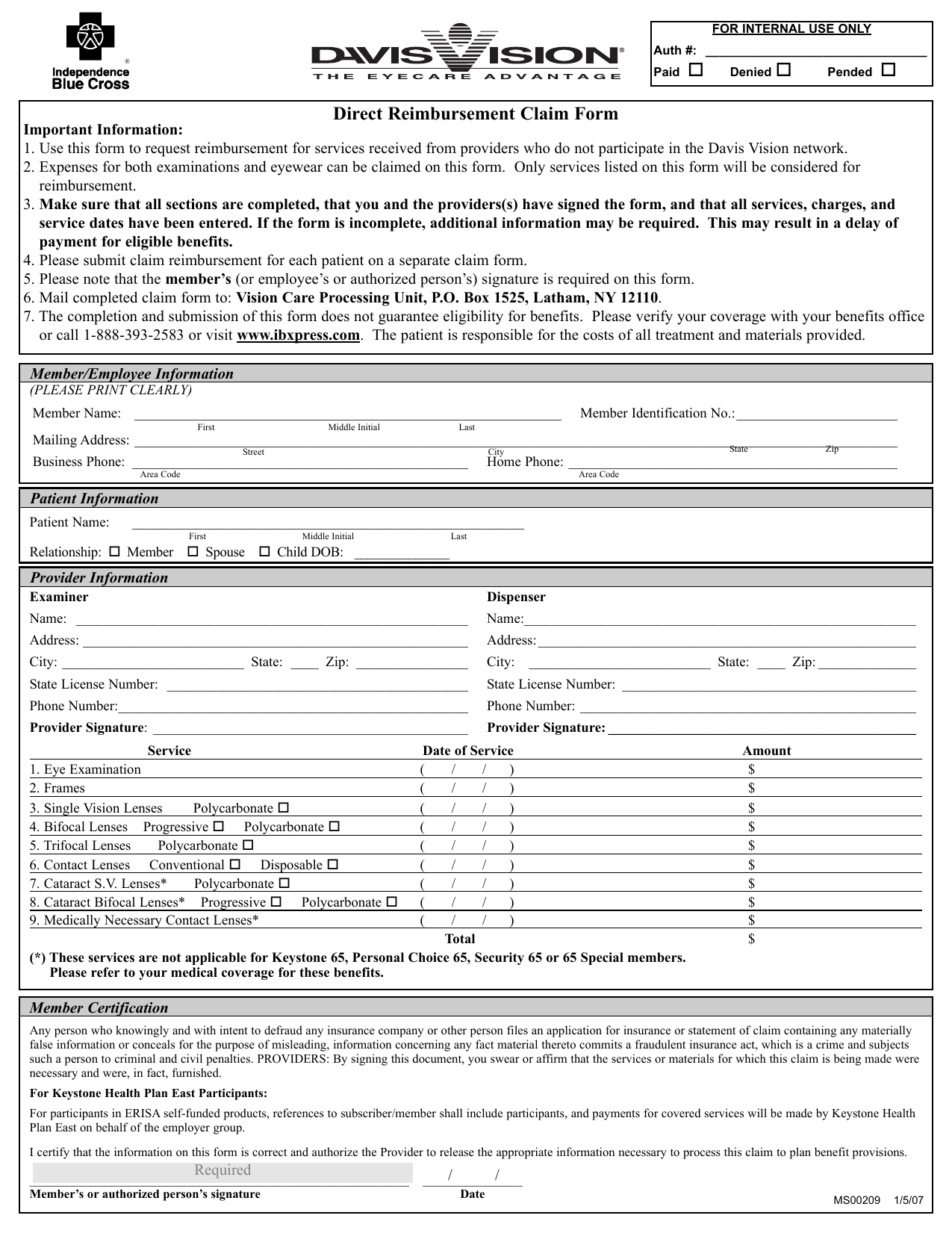 download davis vision claim form