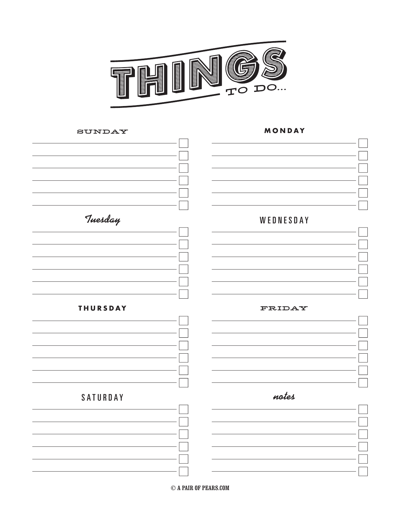 Weekly Checklist Template