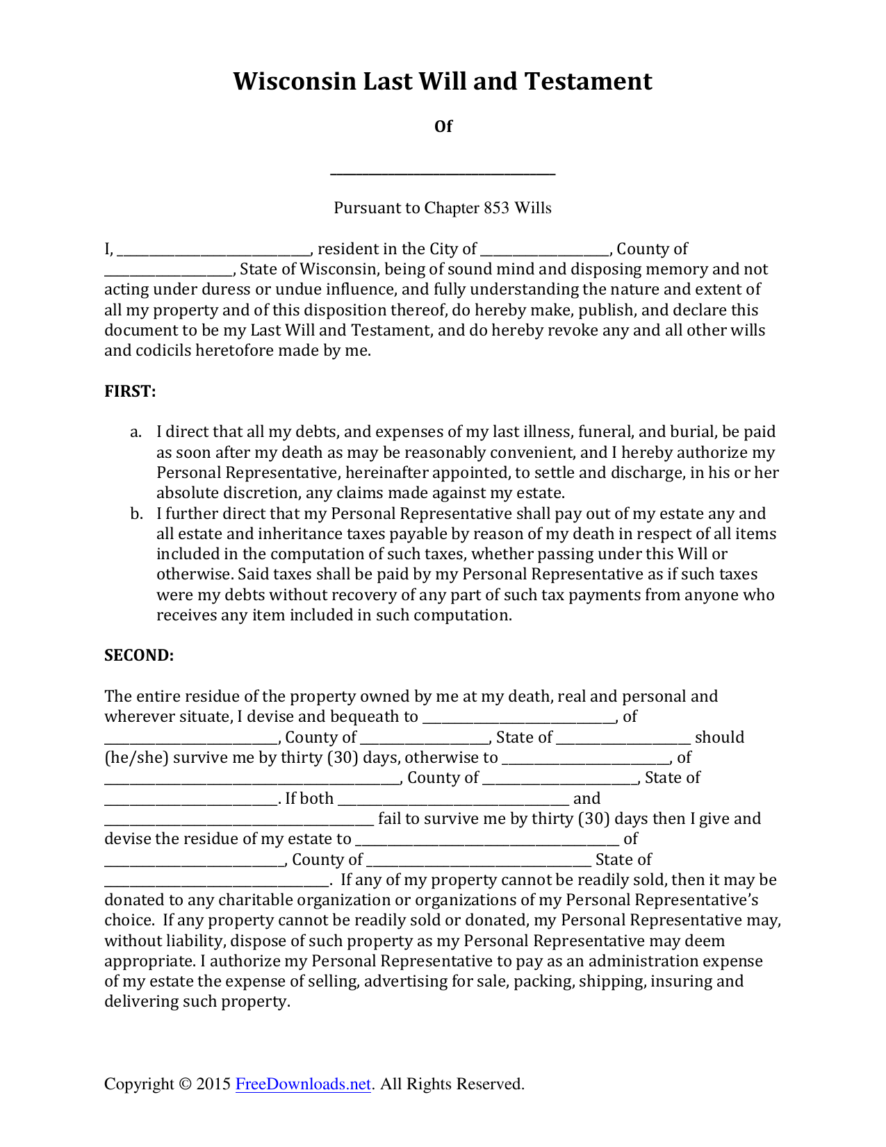 photograph relating to Free Printable Will Forms named Down load Wisconsin Previous Will and Testomony Variety PDF RTF